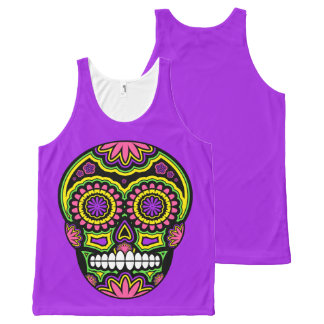 Colorful Mexican Sugar Skull Day Of The Dead All-Over-Print Tank Top