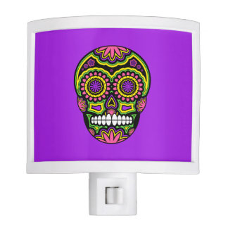 Colorful Mexican Sugar Skull Day Of The Dead Nite Light