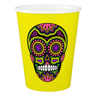 Colorful Mexican Sugar Skull Day Of The Dead Paper Cup