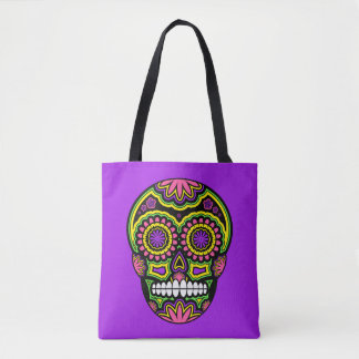 Colorful Mexican Sugar Skull Day Of The Dead Tote Bag