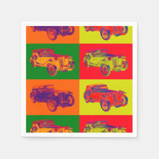 Colorful Mg Tc Antique Car Pop Art Napkin