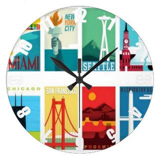 Colorful Miami San Francisco Seattle Travel Clock