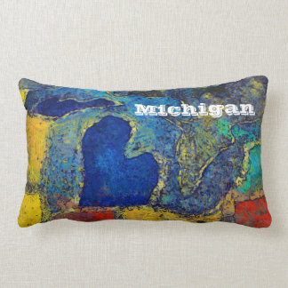 Colorful Michigan Artwork Lumbar Travel Pillow