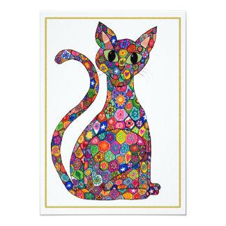 Colorful Millefiori Cat Monogram Name Stationery Card