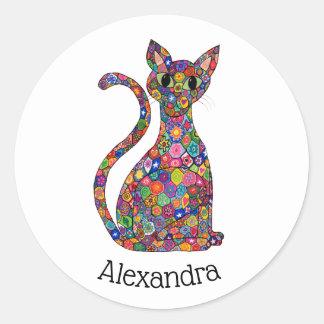 Colorful Millefiori Floral Cat Monogram Name Classic Round Sticker