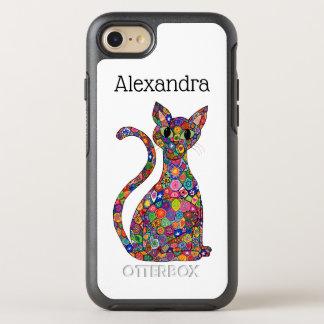 Colorful Millefiori Pattern Cat Monogram Name OtterBox Symmetry iPhone 8/7 Case