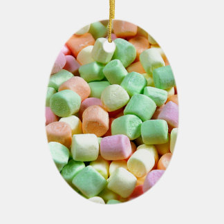 Colorful miniature marshmallow print ceramic oval ornament