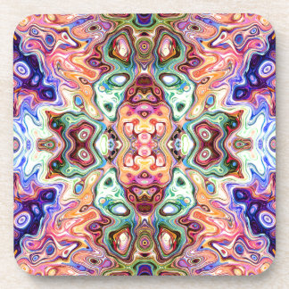 Colorful Mirror Image Abstract Beverage Coaster