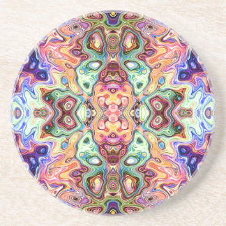 Colorful Mirror Image Abstract Drink Coaster