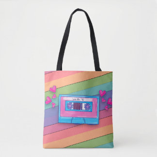 Colorful Mix Tape Tote Bag