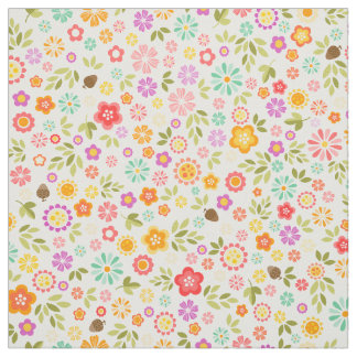 Colorful Mixed Flowers - Seamless Pattern Fabric
