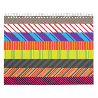 Colorful Mixed Stripes Rainbow Strip Print Wall Calendars