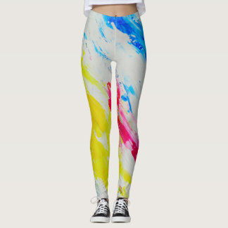 Colorful Modern Abstract Art Yoga Fitness Leggings