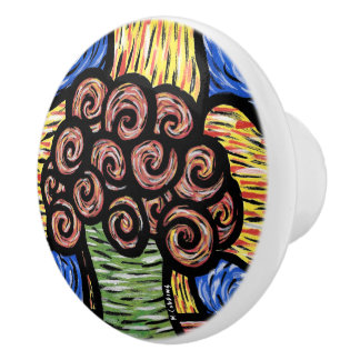 Colorful Modern Abstract Flowers Ceramic Knob