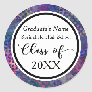 Colorful, Modern, Abstract Graduation Celebration Round Sticker