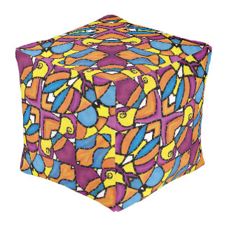 Colorful Modern Abstract Pattern Bright Colors Pouf