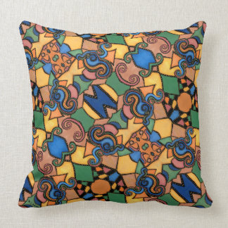 Colorful Modern Abstract Pattern Throw Pillow