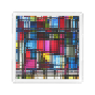 Colorful Modern Abstract Serving Tray