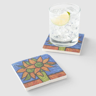 Colorful Modern Abstract Still Life Stone Coaster
