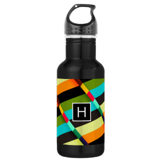 Colorful Modern Abstract Stripes & Monogram 532 Ml Water Bottle