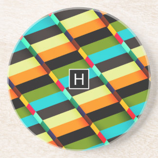 Colorful Modern Abstract Stripes & Monogram Coaster