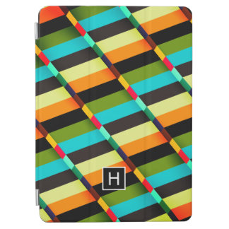 Colorful Modern Abstract Stripes & Monogram iPad Air Cover