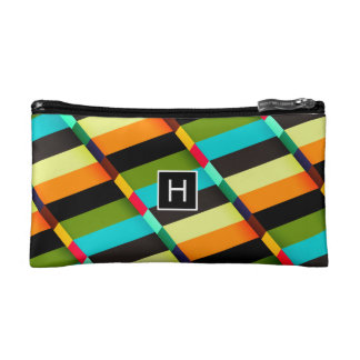 Colorful Modern Abstract Stripes & Monogram Makeup Bag