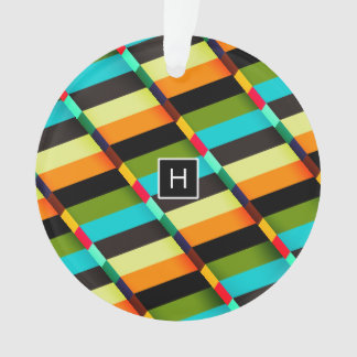 Colorful Modern Abstract Stripes & Monogram Ornament