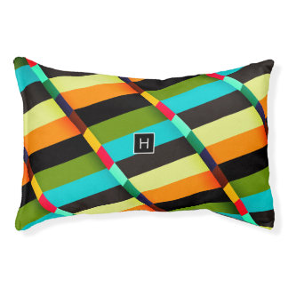 Colorful Modern Abstract Stripes & Monogram Pet Bed