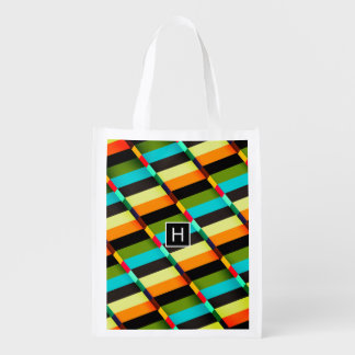 Colorful Modern Abstract Stripes & Monogram Reusable Grocery Bag