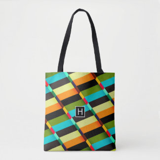Colorful Modern Abstract Stripes & Monogram Tote Bag