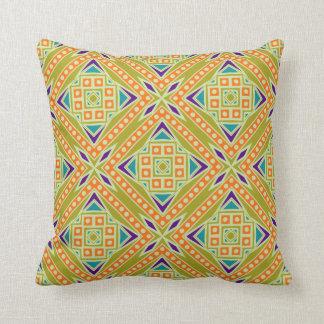 Colorful Modern Aztec Tribal Geometric Pattern Throw Pillow