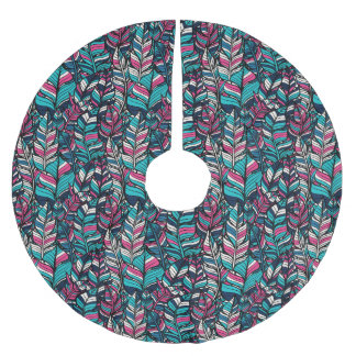 Colorful modern Boho feather seamless pattern Brushed Polyester Tree Skirt