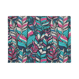 Colorful modern Boho feather seamless pattern Doormat