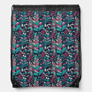 Colorful modern Boho feather seamless pattern Drawstring Bag