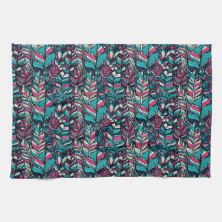 Colorful modern Boho feather seamless pattern Hand Towel