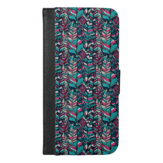 Colorful modern Boho feather seamless pattern iPhone 6/6s Plus Wallet Case