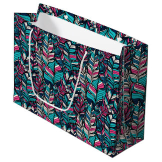 Colorful modern Boho feather seamless pattern Large Gift Bag