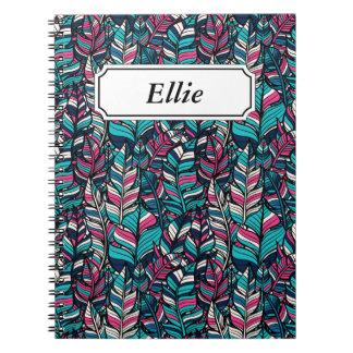 Colorful modern Boho feather seamless pattern Notebook