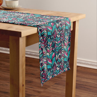 Colorful modern Boho feather seamless pattern Short Table Runner