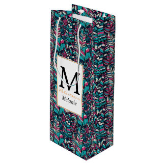 Colorful modern Boho feather seamless pattern Wine Gift Bag