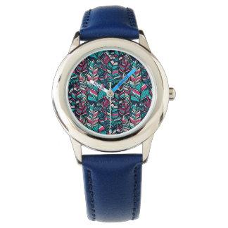 Colorful modern Boho feather seamless pattern Wristwatch
