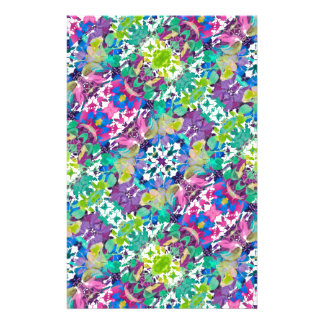 Colorful Modern Floral Print Stationery