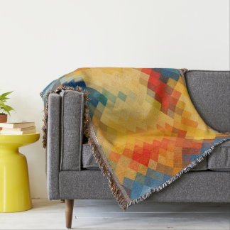Colorful Modern Geometric Diamond Pattern #21 Throw Blanket