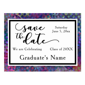 Colorful Modern Graphic Graduation Save the Date Postcard