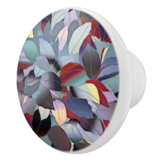 Colorful Modern Leaf Pattern Ceramic Knob