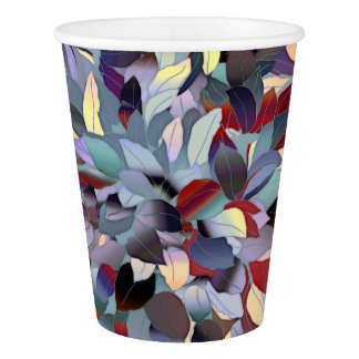 Colorful Modern Leaf Pattern Paper Cup