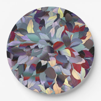 Colorful Modern Leaf Pattern Paper Plate