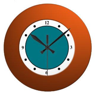 Colorful Modern Metallic Orange Frame on any Color Wall Clocks