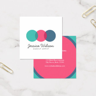 Colorful Modern Overlap Circles Teal Pink Blue Square Business Card